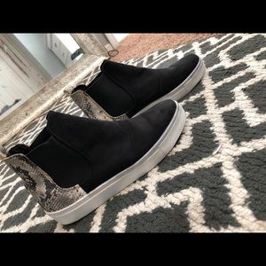 Size 7 black suede slip on high top shoes